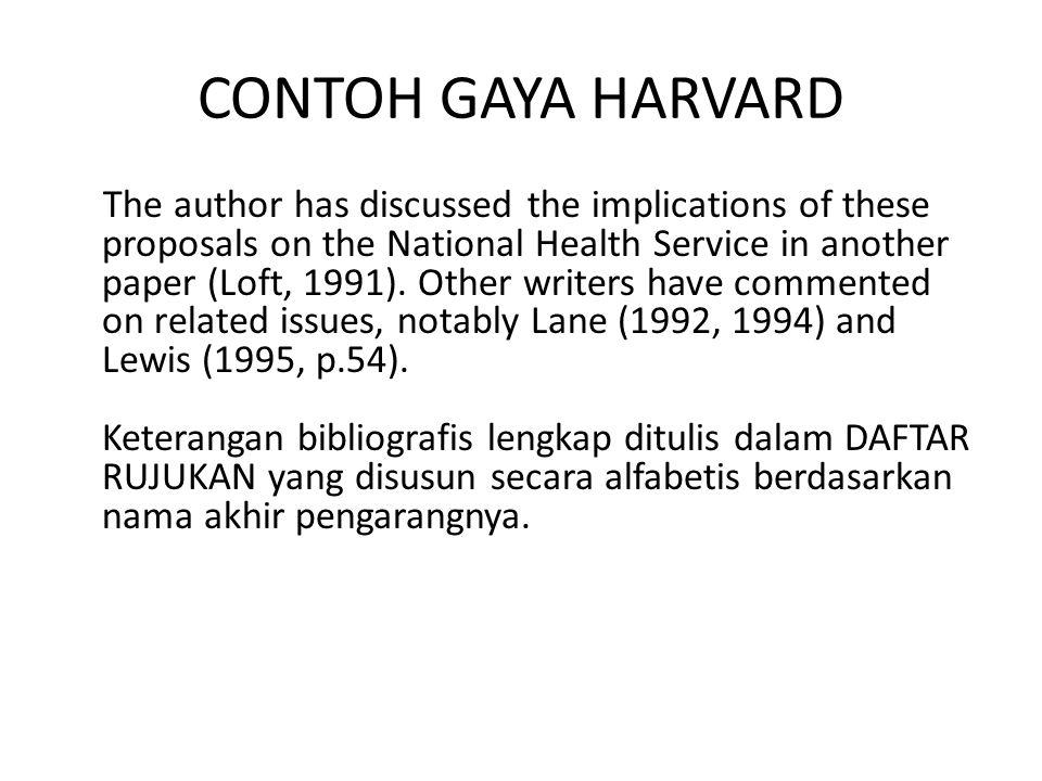 CONTOH GAYA HARVARD