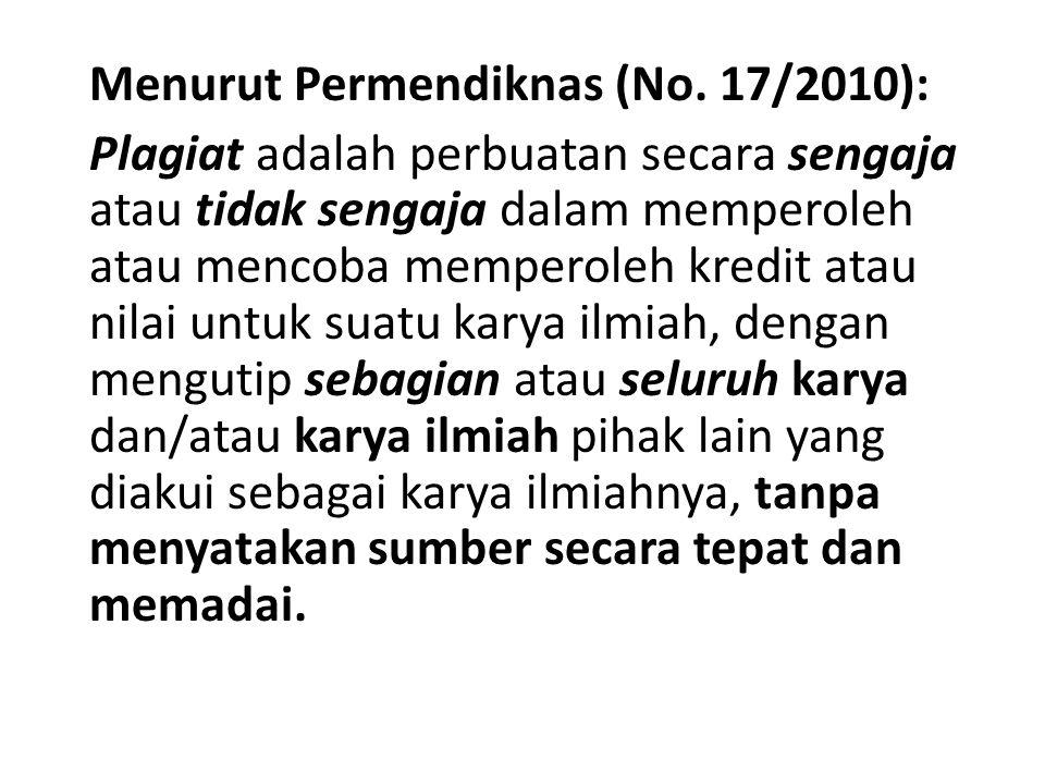 Menurut Permendiknas (No. 17/2010):