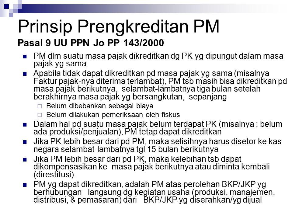 Prinsip Prengkreditan PM Pasal 9 UU PPN Jo PP 143/2000