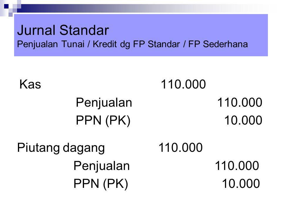 Jurnal Standar Penjualan Tunai / Kredit dg FP Standar / FP Sederhana