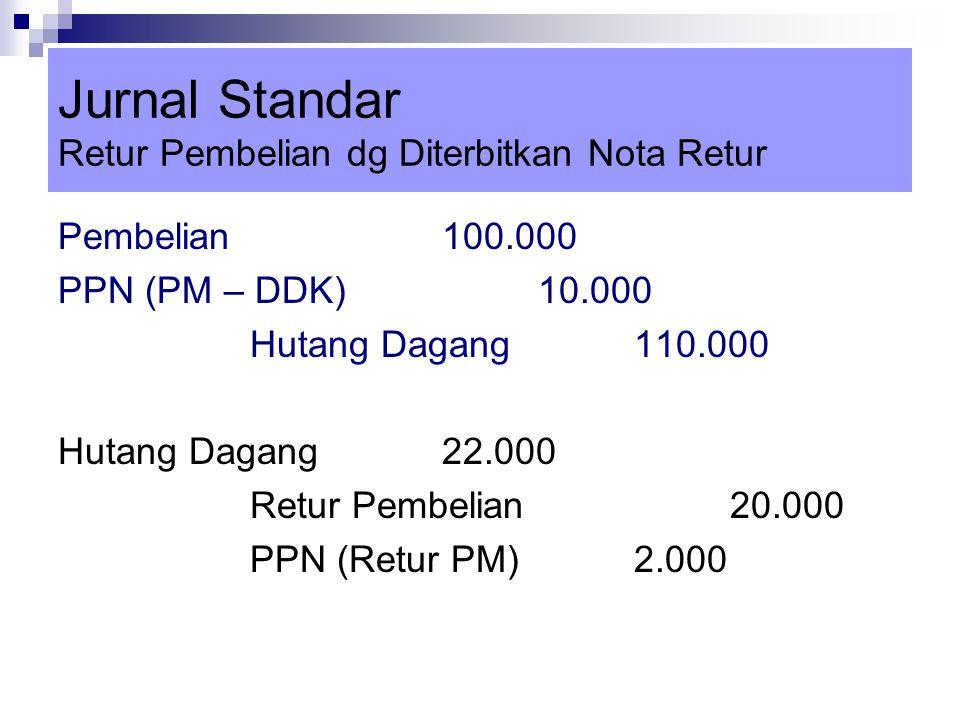 Jurnal Standar Retur Pembelian dg Diterbitkan Nota Retur