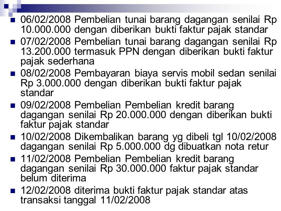 06/02/2008 Pembelian tunai barang dagangan senilai Rp 10. 000