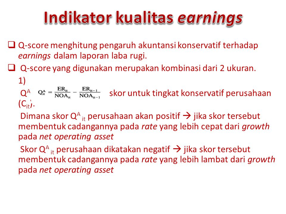 Indikator kualitas earnings