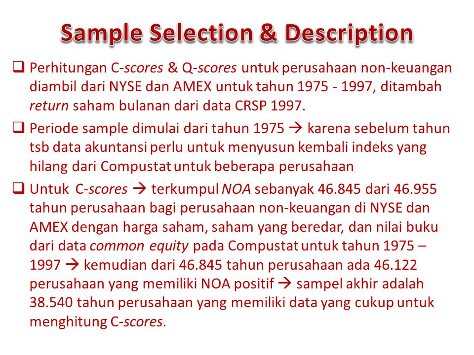 Sample Selection & Description
