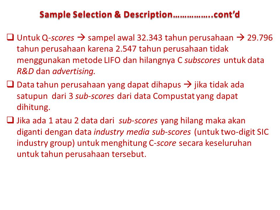 Sample Selection & Description……………..cont'd