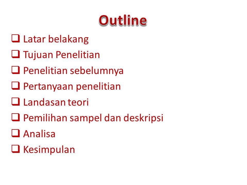 Outline Latar belakang Tujuan Penelitian Penelitian sebelumnya