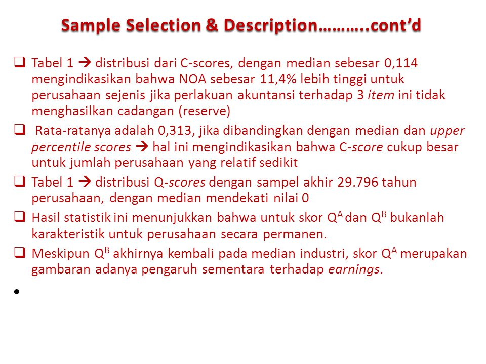 Sample Selection & Description………..cont'd