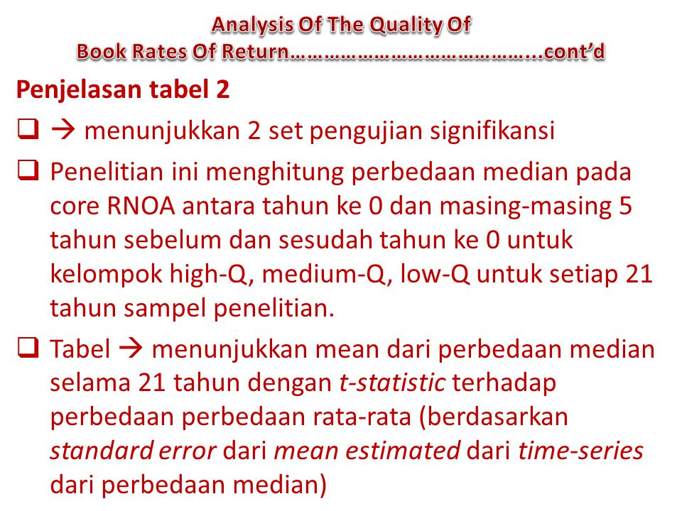 Analysis Of The Quality Of Book Rates Of Return……………………………………...cont'd