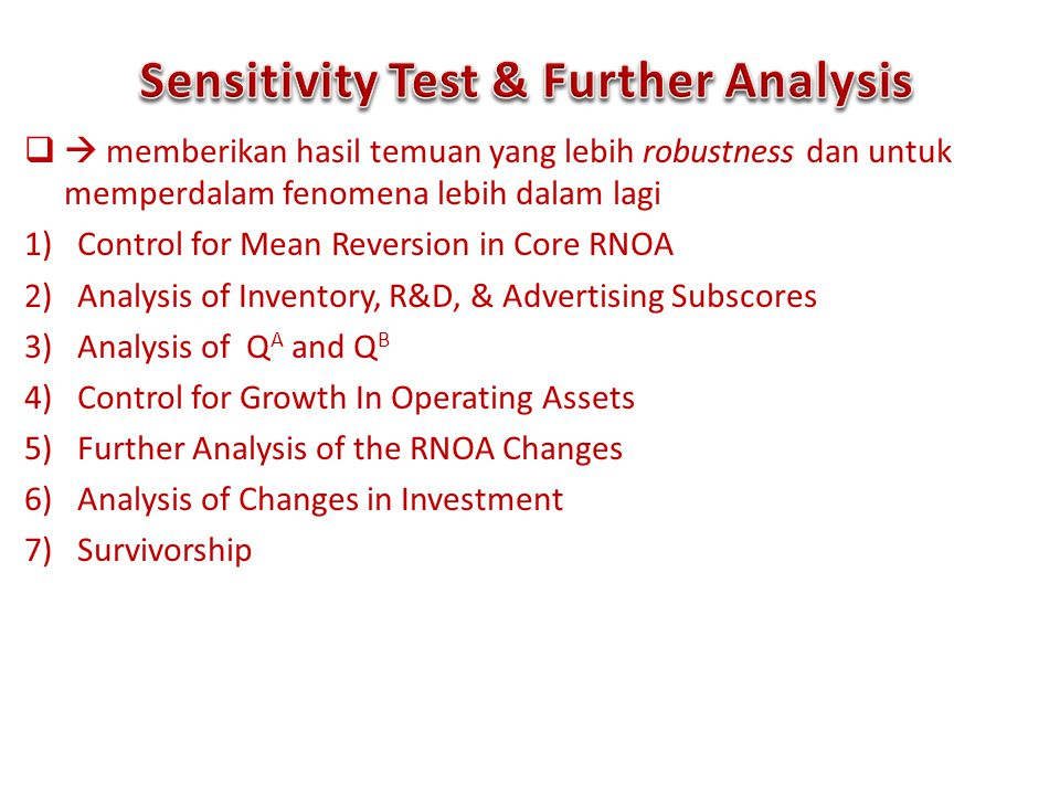 Sensitivity Test & Further Analysis