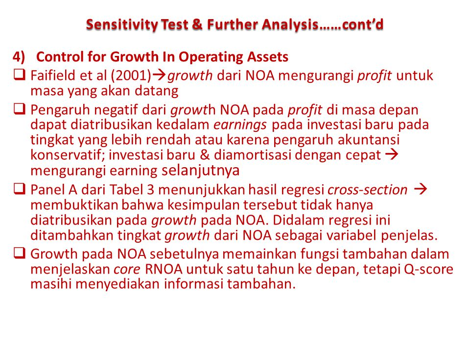 Sensitivity Test & Further Analysis……cont'd