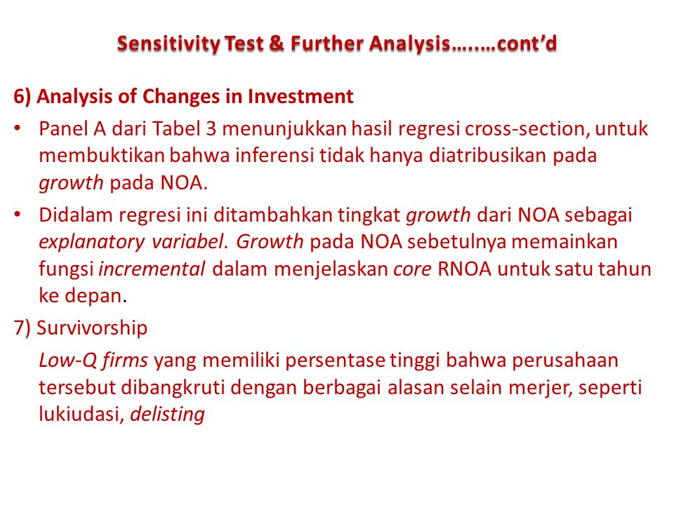 Sensitivity Test & Further Analysis…..…cont'd
