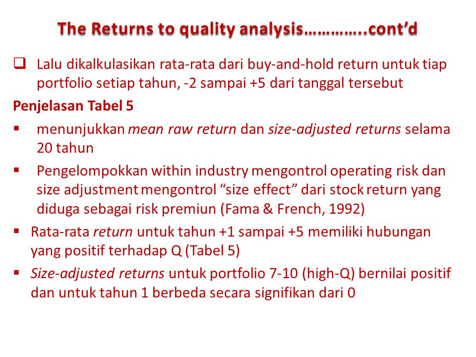 The Returns to quality analysis…………..cont'd