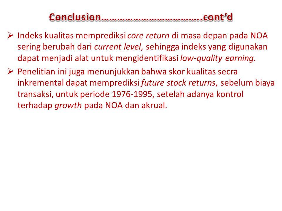 Conclusion………………………………..cont'd