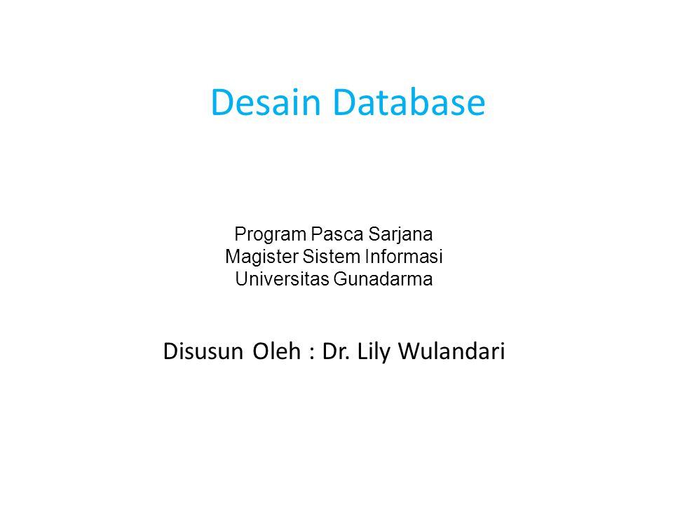 Desain Database Disusun Oleh : Dr. Lily Wulandari
