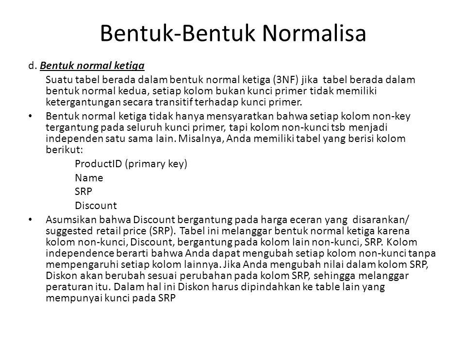 Bentuk-Bentuk Normalisa