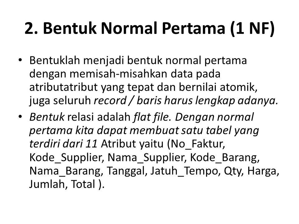 2. Bentuk Normal Pertama (1 NF)
