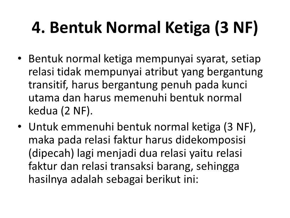 4. Bentuk Normal Ketiga (3 NF)