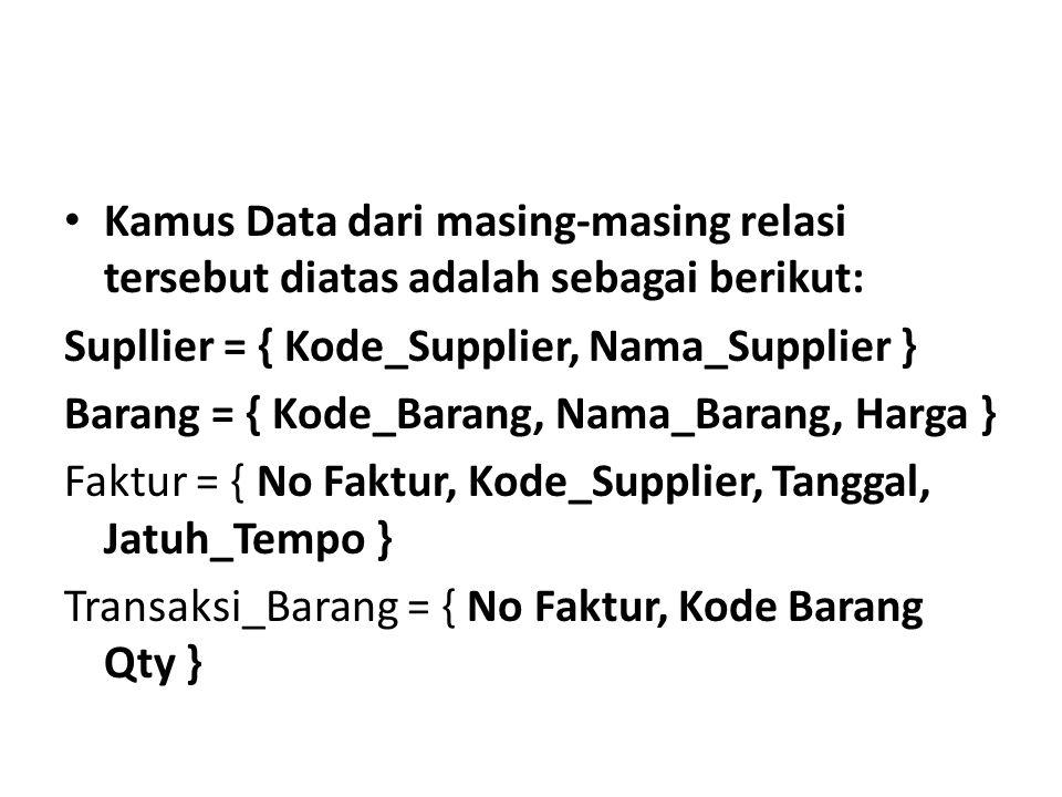Kamus Data dari masing-masing relasi tersebut diatas adalah sebagai berikut: