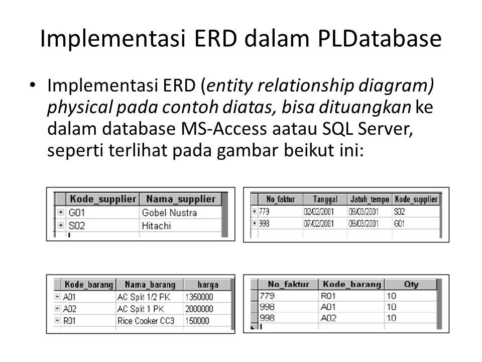 Implementasi ERD dalam PLDatabase