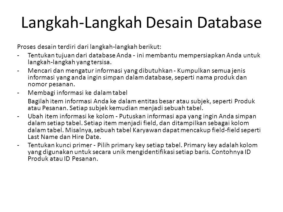Langkah-Langkah Desain Database