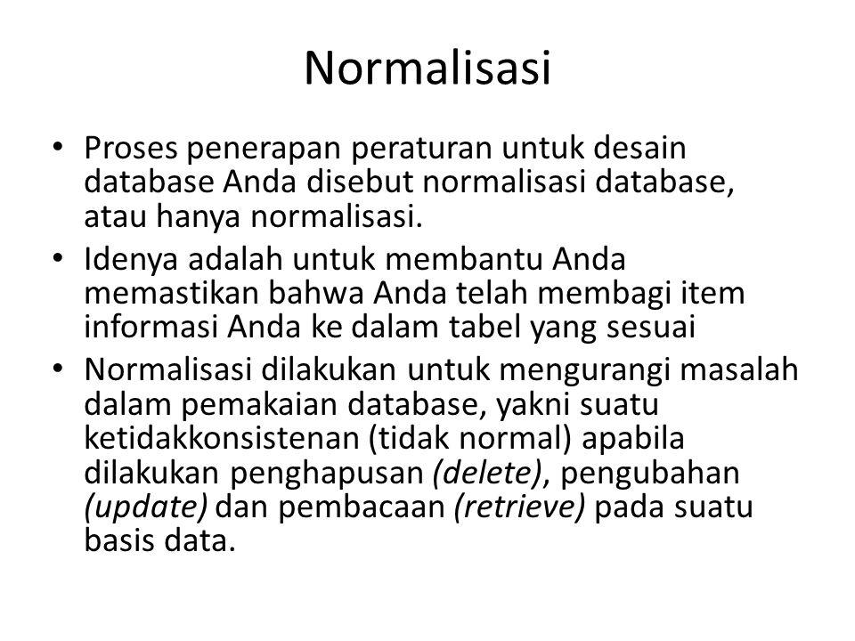 Normalisasi Proses penerapan peraturan untuk desain database Anda disebut normalisasi database, atau hanya normalisasi.