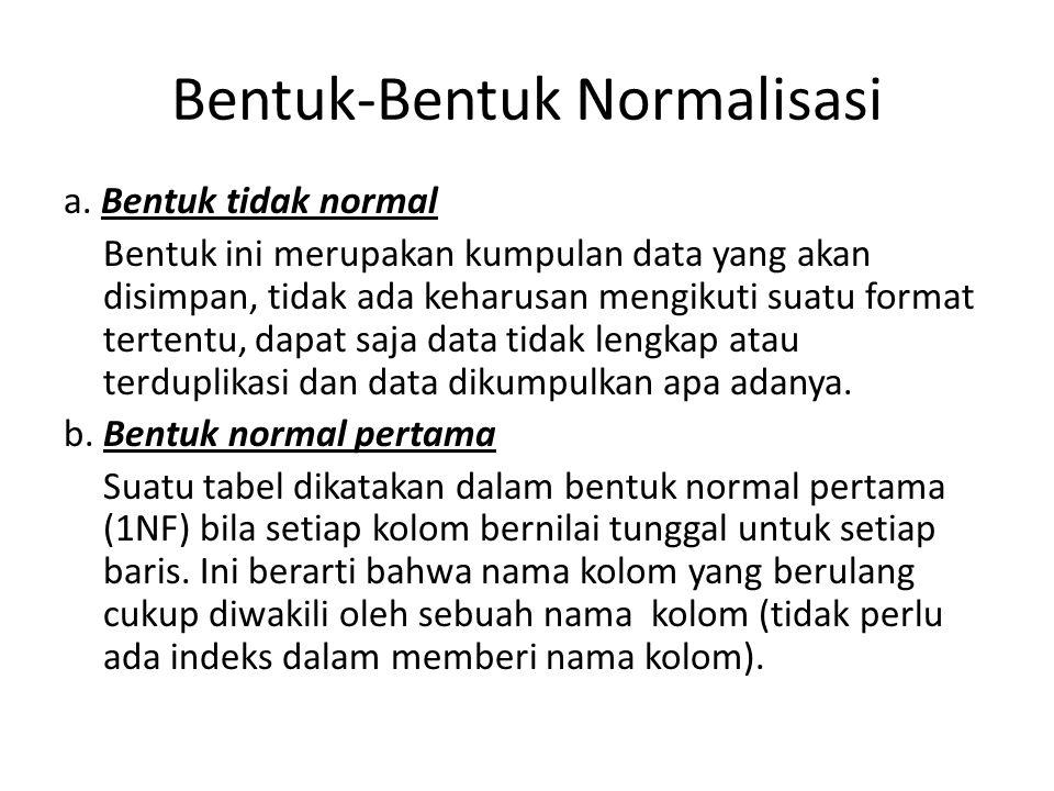 Bentuk-Bentuk Normalisasi