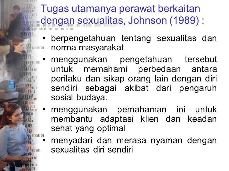 Tugas utamanya perawat berkaitan dengan sexualitas, Johnson (1989) :