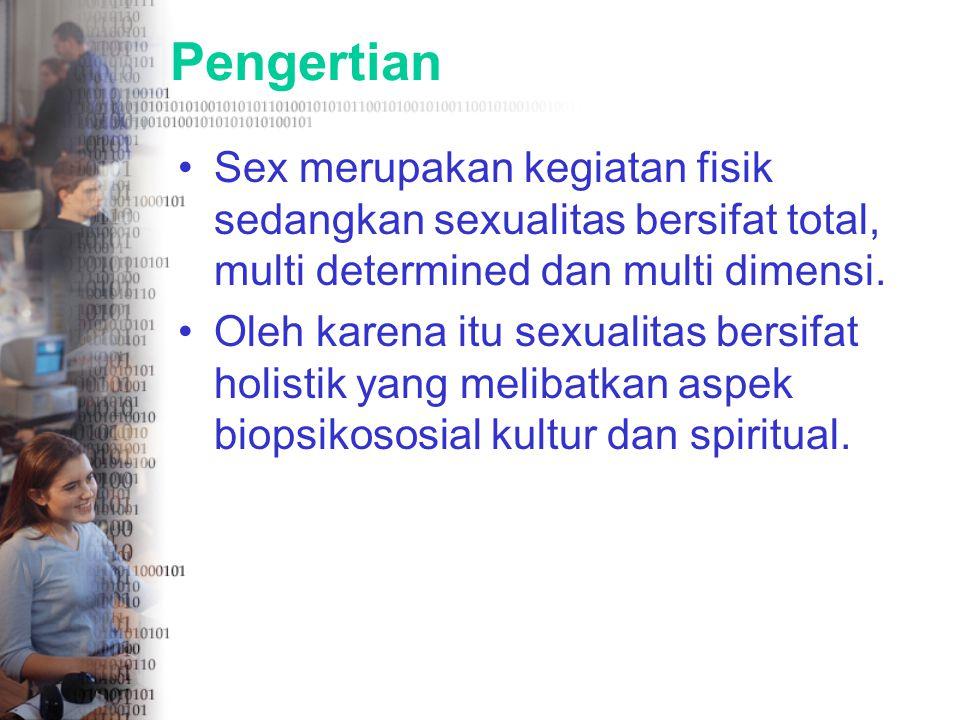 Pengertian Sex merupakan kegiatan fisik sedangkan sexualitas bersifat total, multi determined dan multi dimensi.