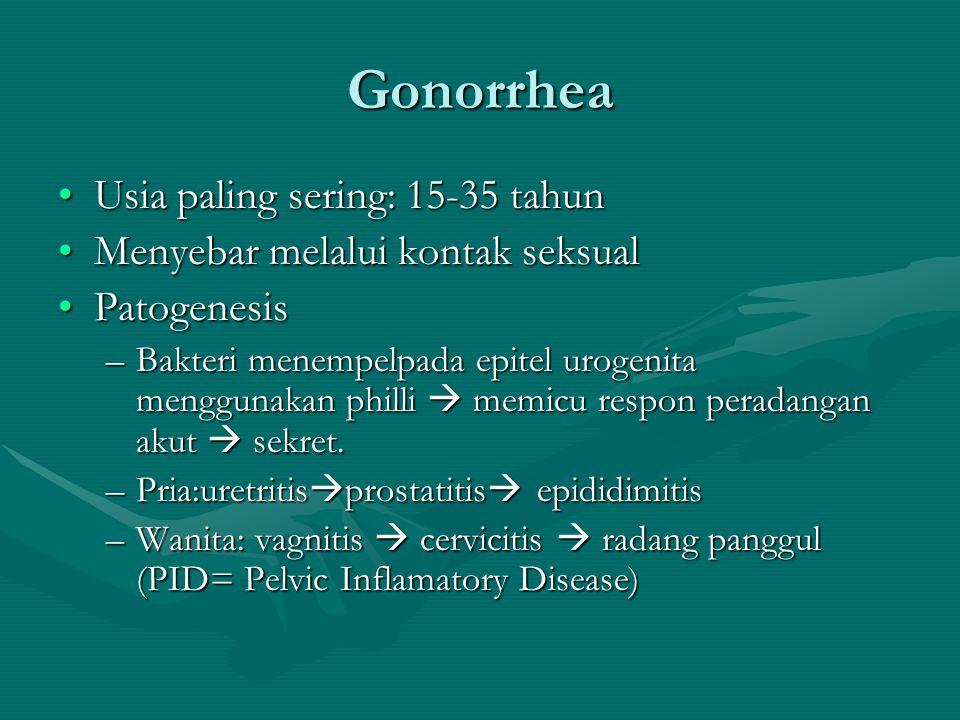 Gonorrhea Usia paling sering: 15-35 tahun