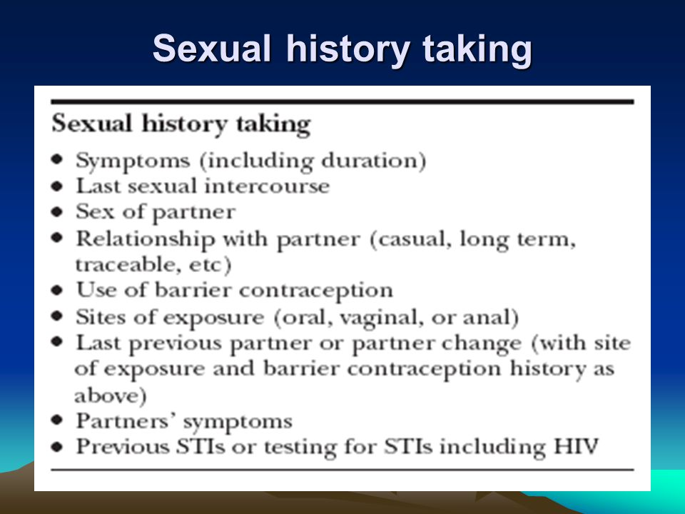 Sexual history taking
