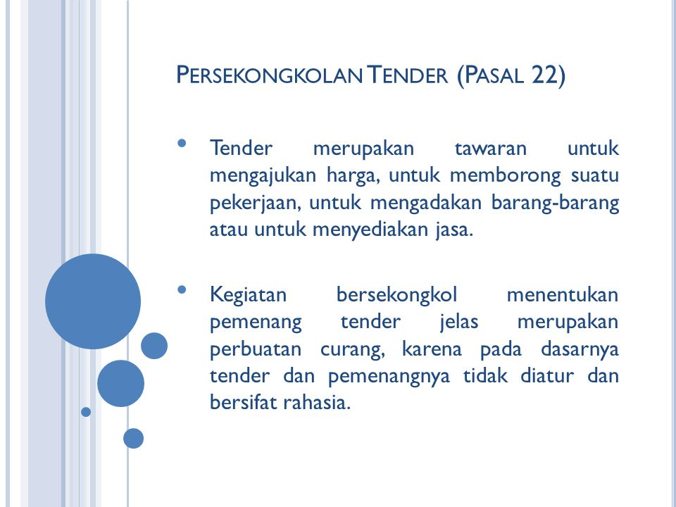 Persekongkolan Tender (Pasal 22)