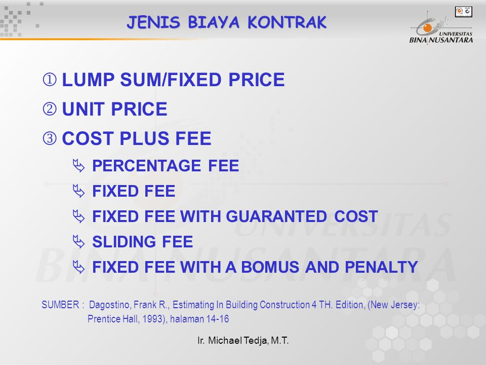 LUMP SUM/FIXED PRICE UNIT PRICE COST PLUS FEE JENIS BIAYA KONTRAK