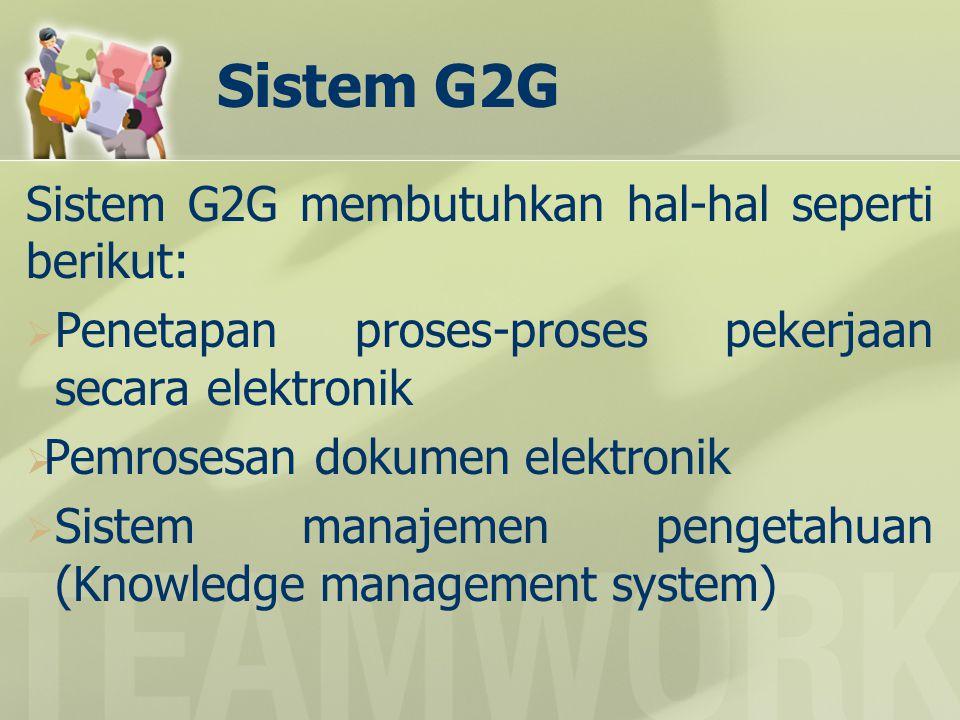 Sistem G2G Sistem G2G membutuhkan hal-hal seperti berikut: