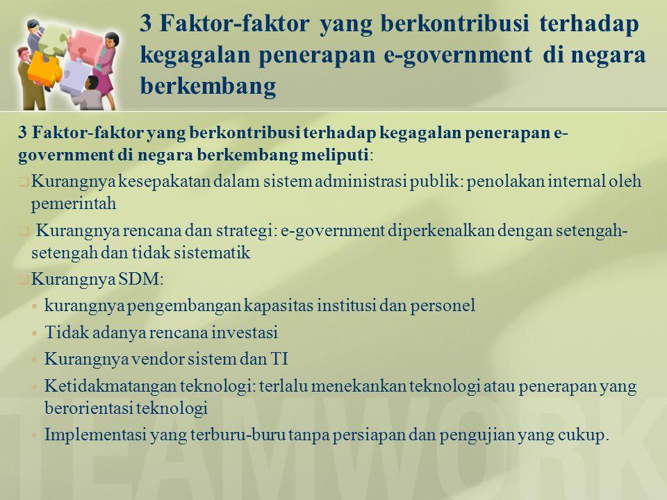 3 Faktor-faktor yang berkontribusi terhadap kegagalan penerapan e-government di negara berkembang