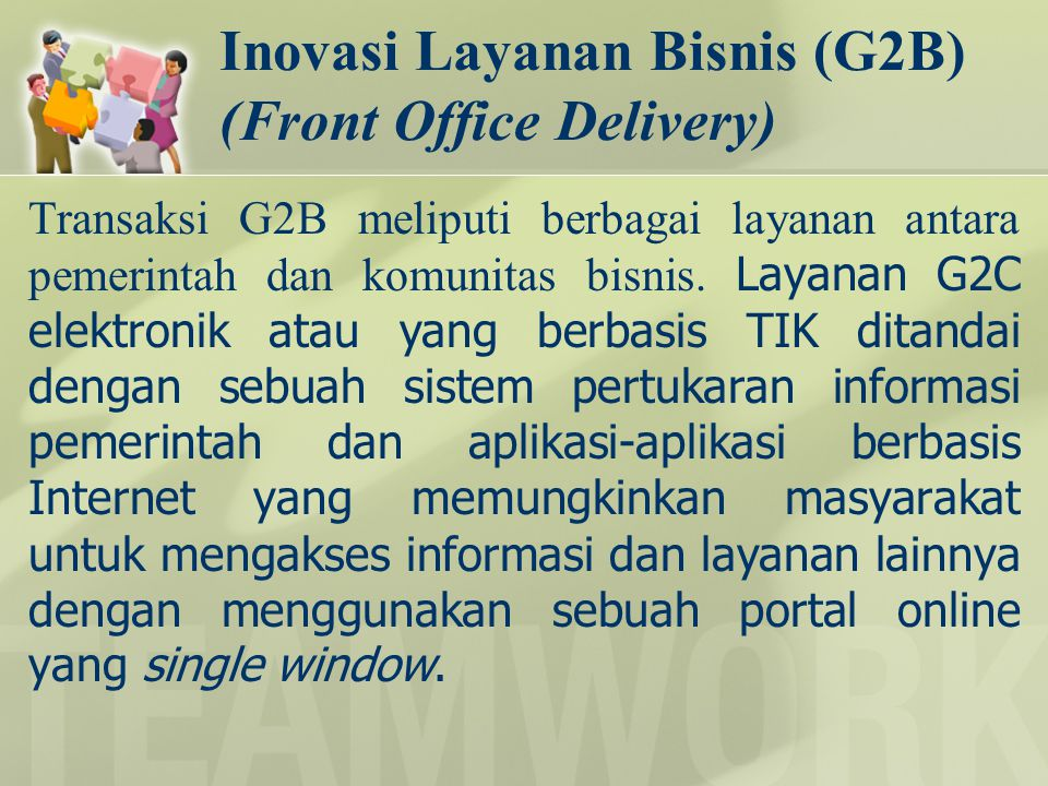 Inovasi Layanan Bisnis (G2B) (Front Office Delivery)