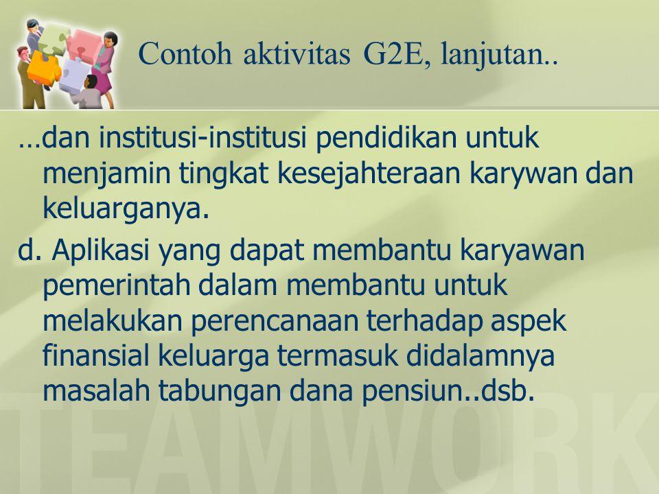 Contoh aktivitas G2E, lanjutan..
