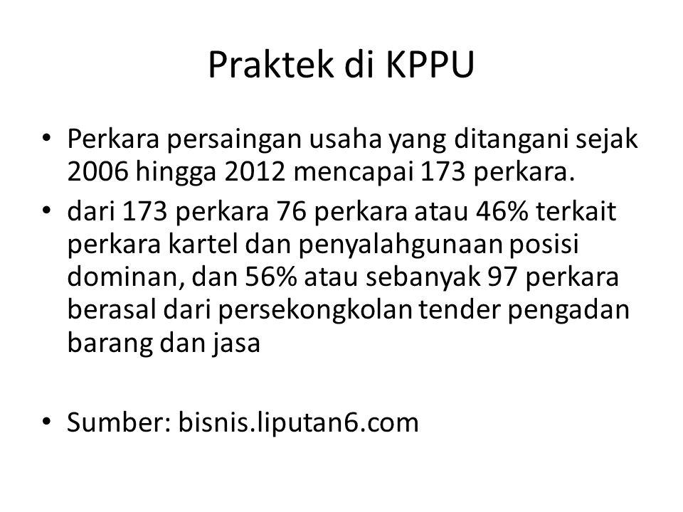 Praktek di KPPU Perkara persaingan usaha yang ditangani sejak 2006 hingga 2012 mencapai 173 perkara.