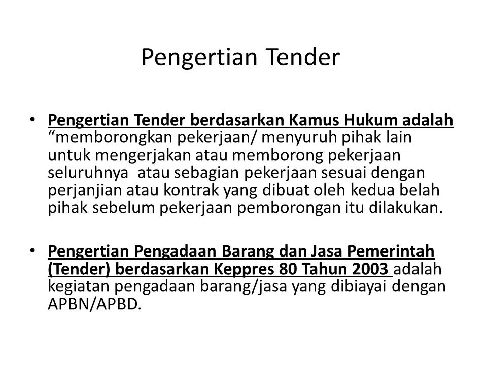 Pengertian Tender