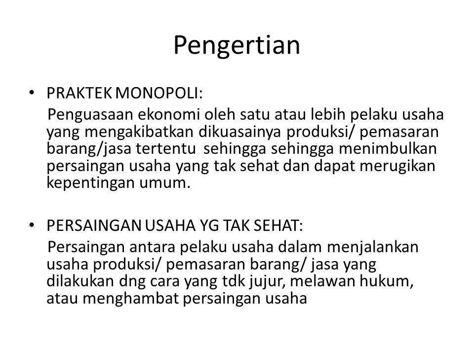 Pengertian PRAKTEK MONOPOLI: