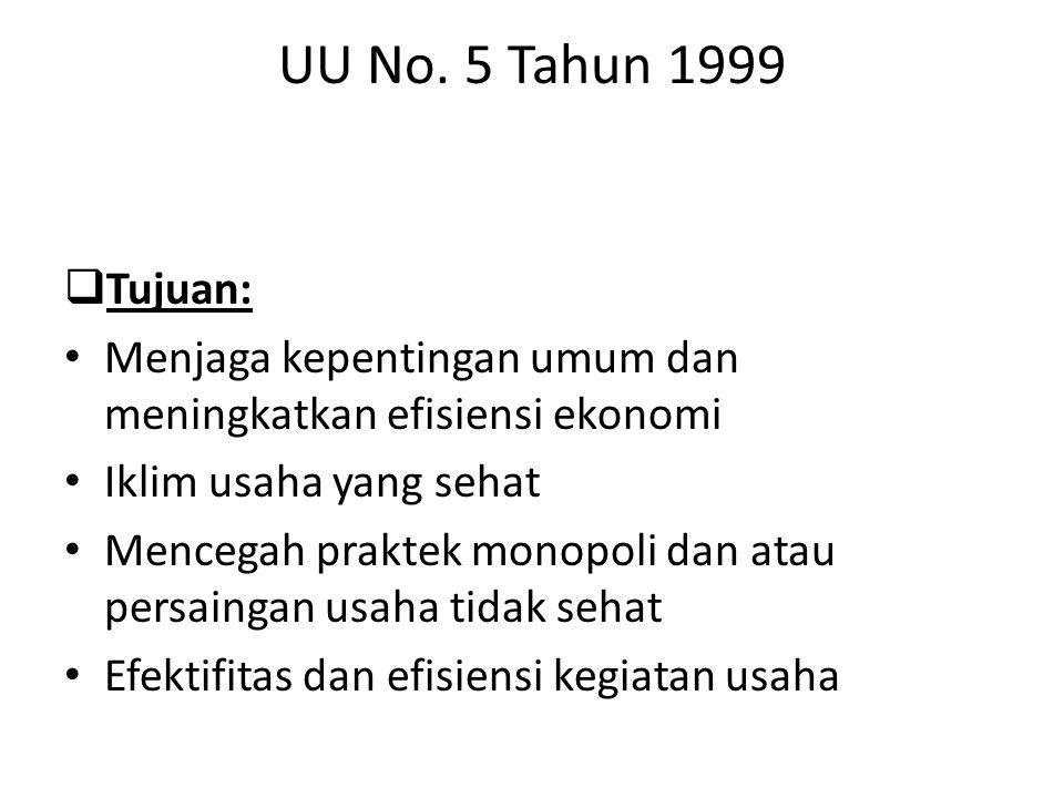 UU No. 5 Tahun 1999 Tujuan: Menjaga kepentingan umum dan meningkatkan efisiensi ekonomi. Iklim usaha yang sehat.