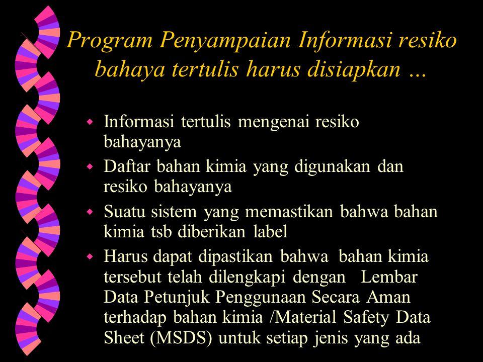 Program Penyampaian Informasi resiko bahaya tertulis harus disiapkan …