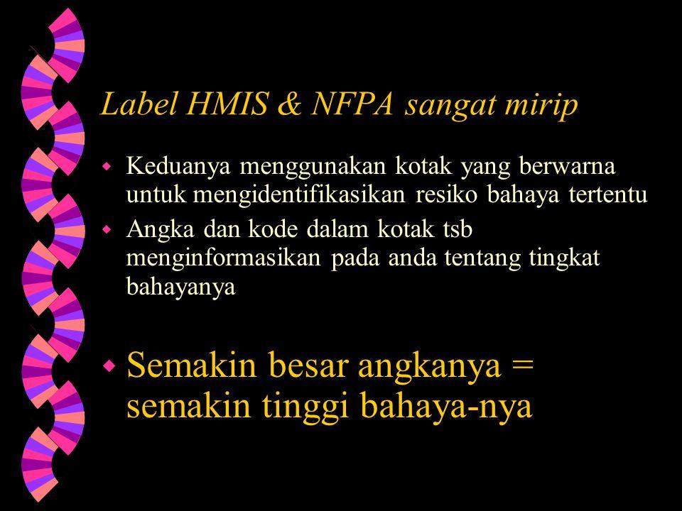 Label HMIS & NFPA sangat mirip