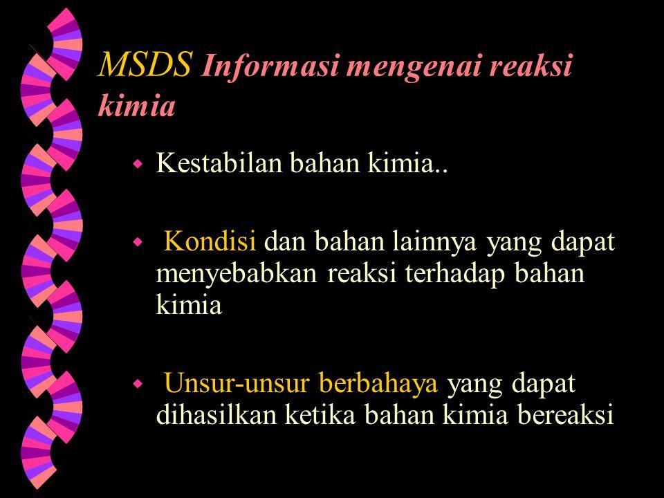 MSDS Informasi mengenai reaksi kimia