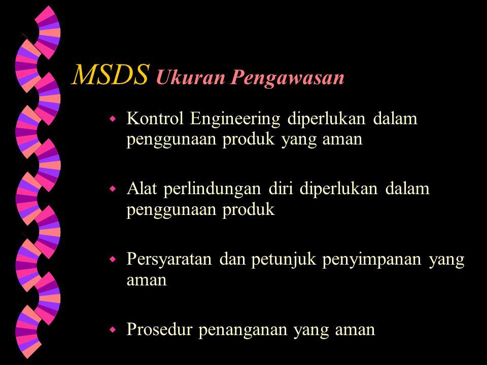 MSDS Ukuran Pengawasan