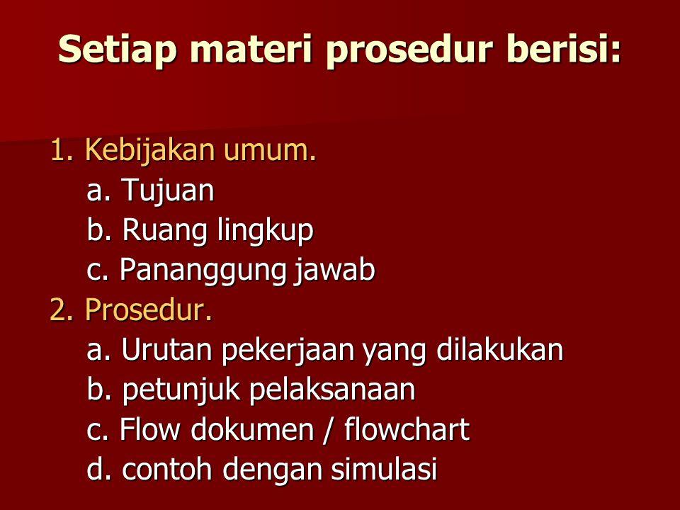 Setiap materi prosedur berisi: