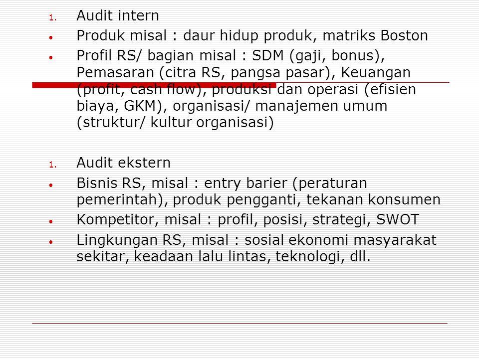 Audit intern Produk misal : daur hidup produk, matriks Boston.