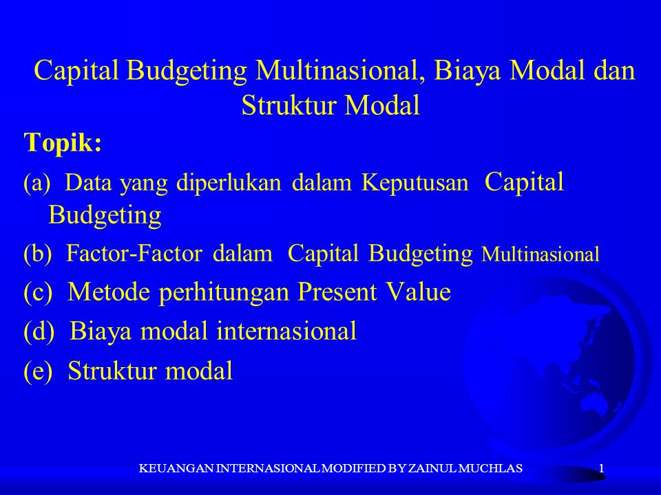 Capital Budgeting Multinasional, Biaya Modal dan Struktur Modal