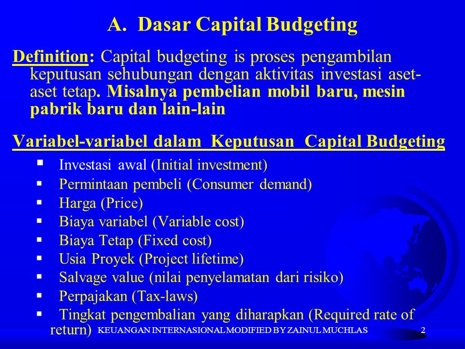 A. Dasar Capital Budgeting