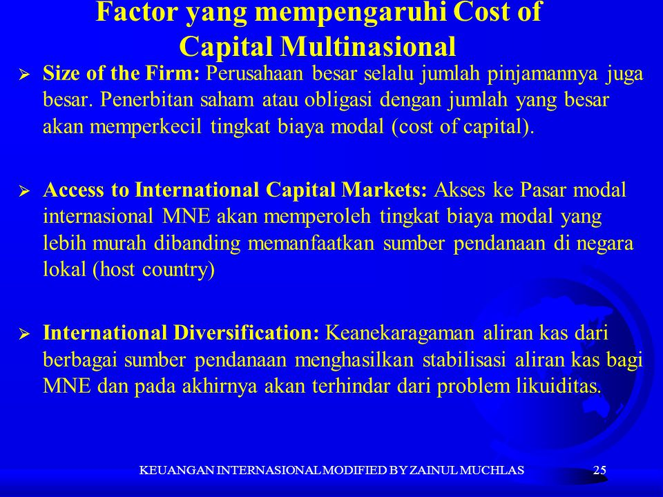 Factor yang mempengaruhi Cost of Capital Multinasional