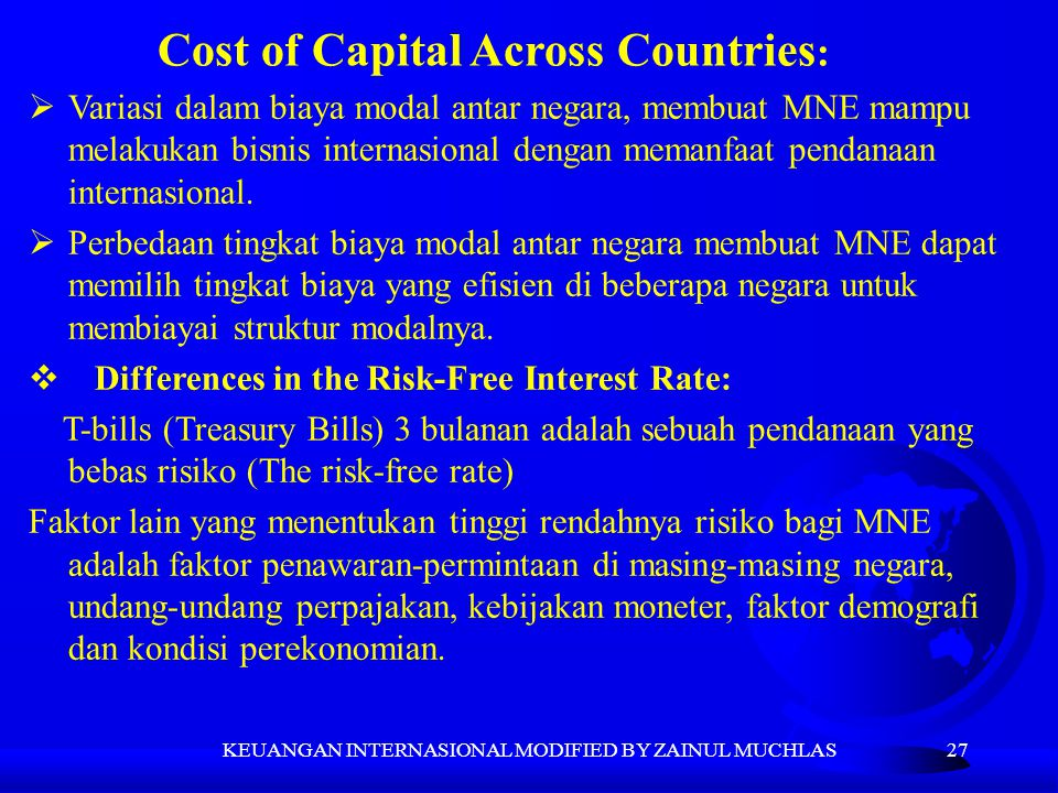 Cost of Capital Across Countries: